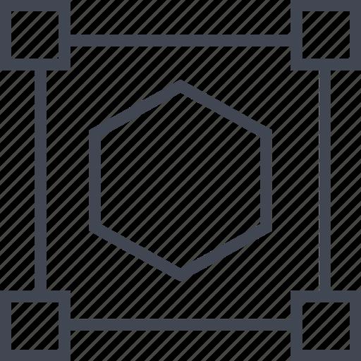 corners, dot, four, hexagon icon