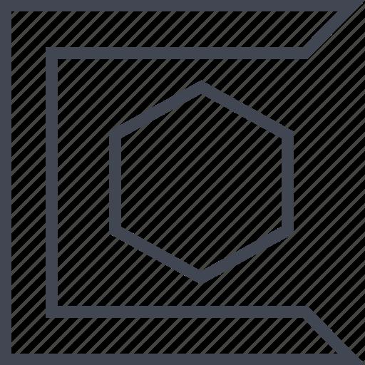 edge, edges, hexagon, sharp icon