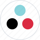 abstract, creative, design, dots, three icon