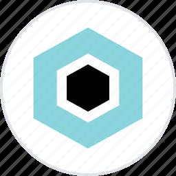 abstract, creative, eye, hexagon icon