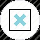 x, abstract, creative, center, delete icon