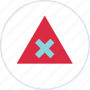 abstract, center, creative, triangle, x icon