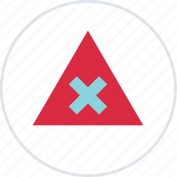 abstract, center, creative, triangle, x icon