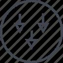 abstract, arrows, creative, design, puzzle, shape, three icon