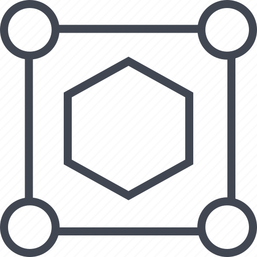 connect, corners, four, hexagon icon