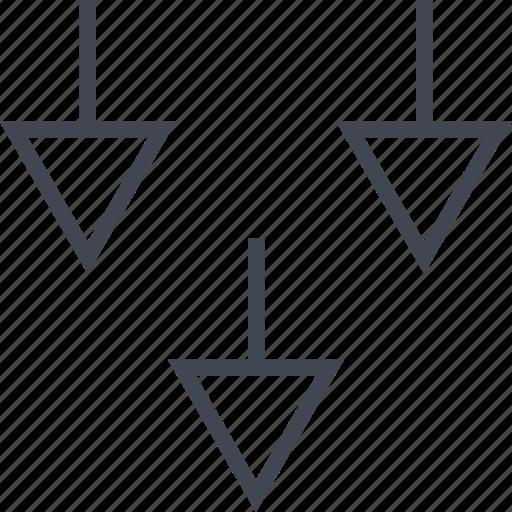 abstract, arrows, design, down, three icon