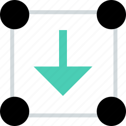 abstract, arrow, creative, down, download, point icon