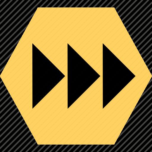 abstract, creative, forward, go, hexagon, next icon