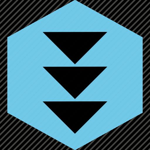 abstract, arrows, creative, down, hexagon, three icon