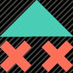 abstract, arrow, creative, up, x icon