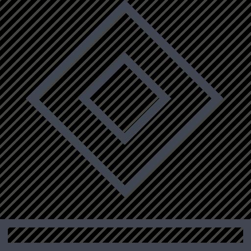 cube, ground, line, top icon