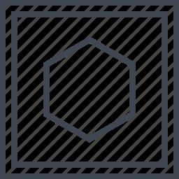 center, cube, eye, hexagon icon