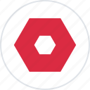 abstract, center, creative, hexagon icon