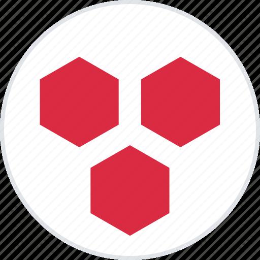 abstract, creative, hexagons, three icon