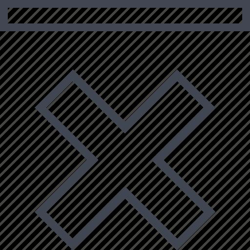 bottom, cross, denied, down, stop icon