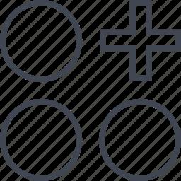 dots, plus, sign, three icon