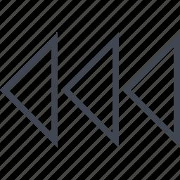 arrows, back, exit, left, three icon