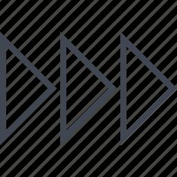 arrows, forward, go, next, three icon