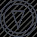 arrow, cone, down, point, pointer icon