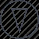 arrow, cone, down, point icon