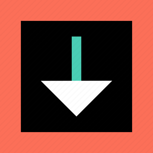 abstract, arrow, creative, down, point, sign icon
