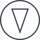 arrow, cone, down, pointer icon