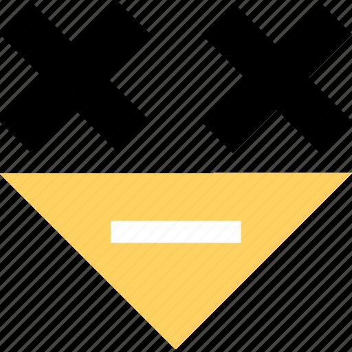 abstract, arrow, creative, downn, x icon