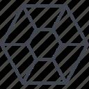 hex, hexagon, honey, shape, sharp icon