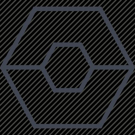 abstract, center, creative, design, goal, hexagon icon