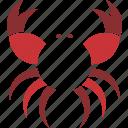 animal, crab, logo, red icon