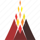 eruption, fire, lava, logo, mountain, volcano icon