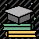 cap, degree, diploma, education, graduate, graduation, mortarboard icon
