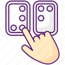 braille directions, tactile reading, braille directions icon, blindness icon
