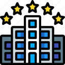 accommodation, five, hotel, service icon, services, star icon