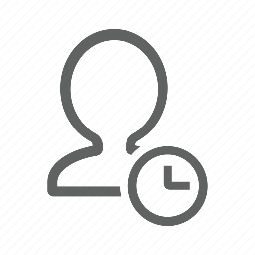 account, avatar, clock, delay, later, people, profile icon