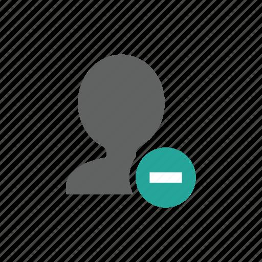 account, avatar, delete, minus, people, profile, remove icon