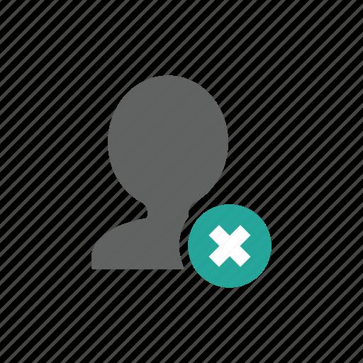 account, avatar, cross, delete, people, profile, remove icon
