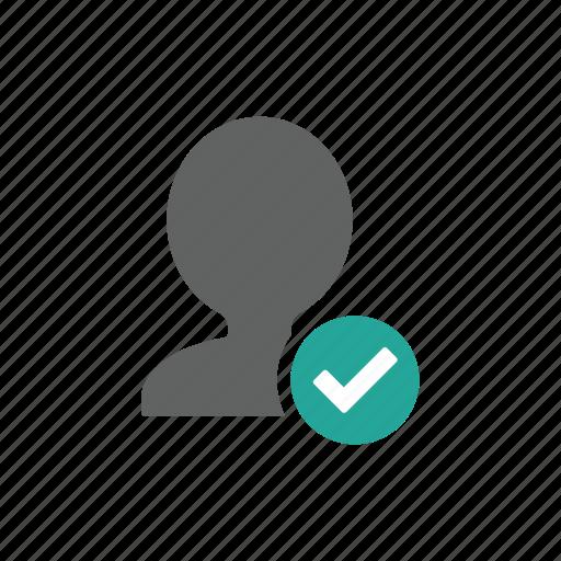 account, avatar, check, correct, people, profile icon