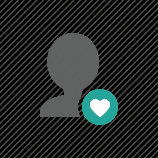 account, avatar, favorite, heart, people, profile icon
