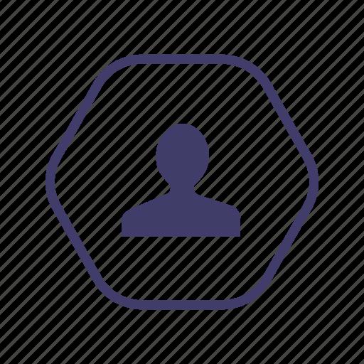 friend, hexagon, login, personal, personally, private, user icon