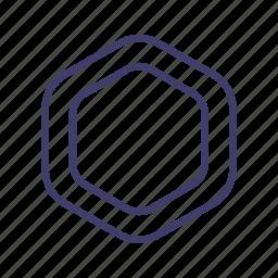 badge, hexagon, label, logo, shape, sticker, tag icon