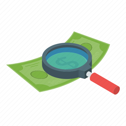 business search, finance, financial monitoring, finding money, money search, seo icon