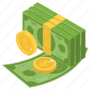 bundle of money, cash, dollar stack, finance, money