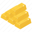 gold bricks, coin stack, stack of gold, asset, gold stack icon