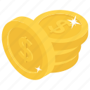 capital, cash, coins, dollars, money icon