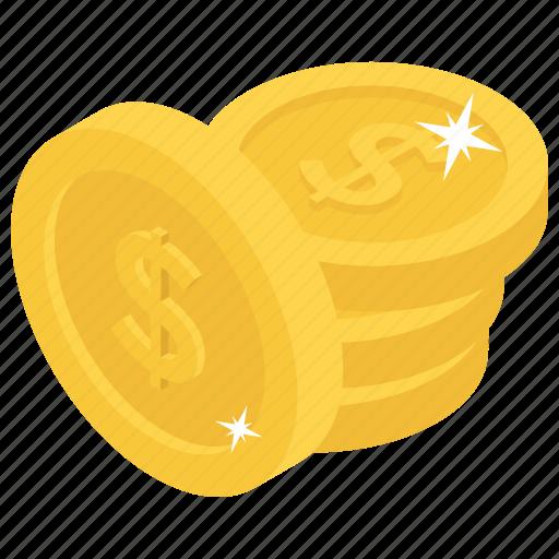 capital, cash, coins, dollars, money icon