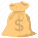 capital, cash collection, finance, investment, money bag, savings icon