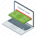 bank loan, bank website, online banking, online loan, online transaction icon