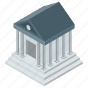 bank, building, courthouse, financial institute, school building icon