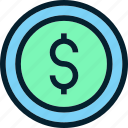 banking, cash, coin, dollar, finance, money, payment icon